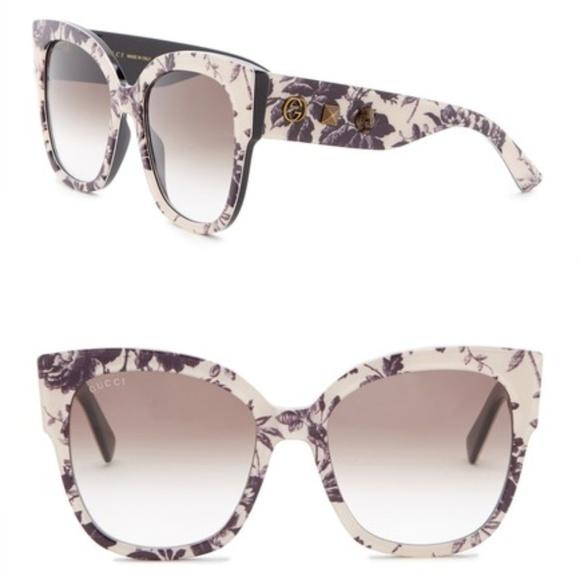 43e14029d Gucci Accessories | Floral Print Square Sunglasses | Poshmark
